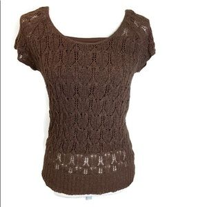 Cold water Creek Women's knitted brown top sz8
